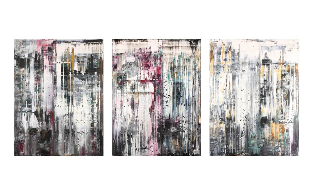 SanRom (triptych), 2017, acrylic on canvas, 160x210cm (each) SOLD